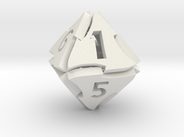 Tranglex Eight-Sided Die in White Strong & Flexible