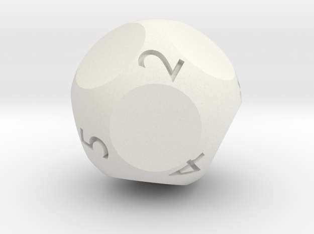 d9 - Nine-Sided Die in White Natural Versatile Plastic
