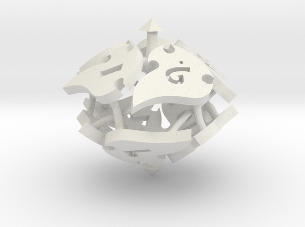 Tocrax Ten-Sided Die in White Strong & Flexible