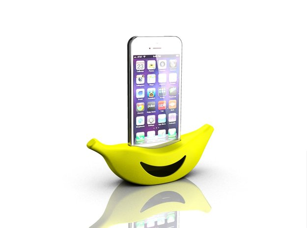 Banana cradle for iPhone 5s in Yellow Processed Versatile Plastic