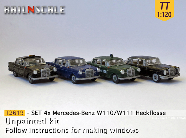 SET 4x Mercedes-Benz Heckflosse (TT 1:120) in Frosted Ultra Detail