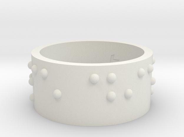 Braille Ring Carpe Diem in White Natural Versatile Plastic