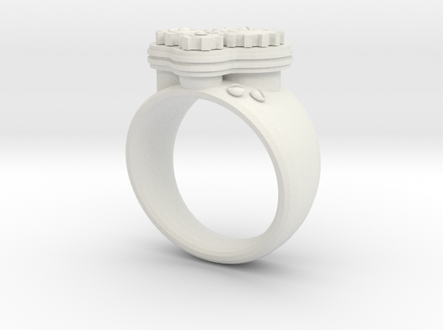 Gea Ring Type-1 in White Natural Versatile Plastic