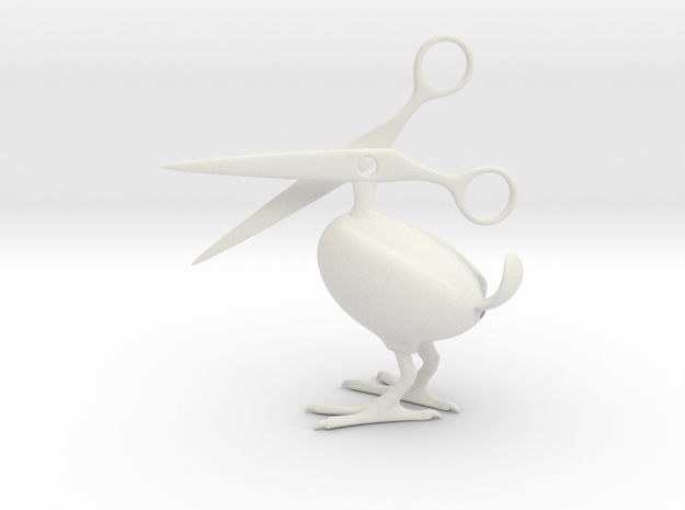 Scissor Bird in White Natural Versatile Plastic