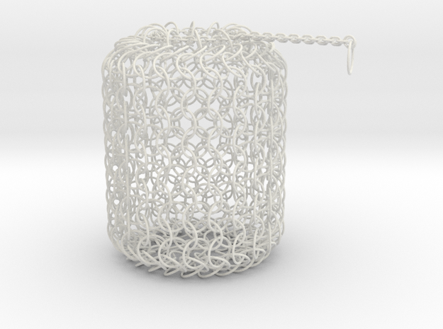 Large Chain Maille Dice Bag in White Strong & Flexible