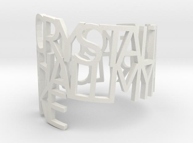 Ring Poem - Crystal in White Natural Versatile Plastic
