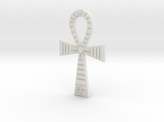 Egyptian Ankh Pendant in White Natural Versatile Plastic
