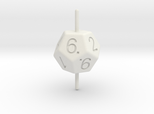 D10 Axis Dice in White Strong & Flexible