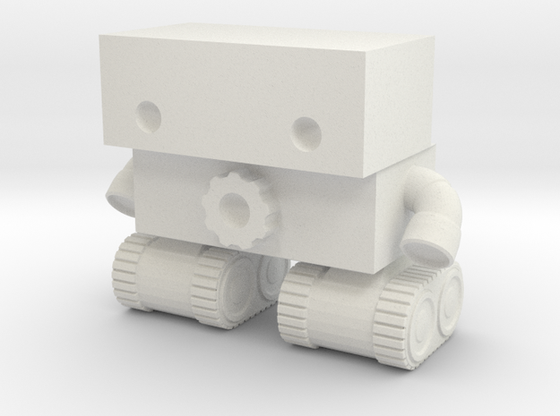Robot 0025 Tank Tread Bot With Cog in White Natural Versatile Plastic