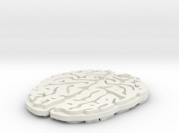 Brain Pendent in White Natural Versatile Plastic