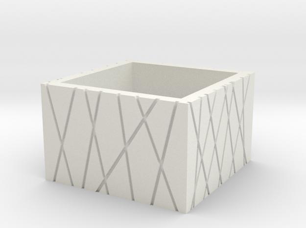 SquareRing CrisCross 20mmx15mm in White Natural Versatile Plastic