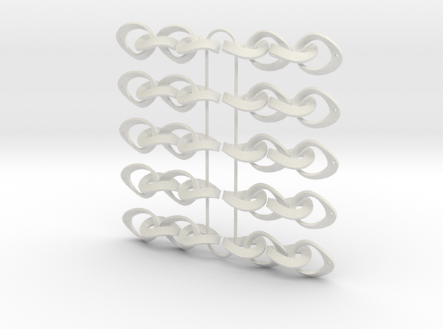 Mobius Strip Earrings - 5 pairs in White Strong & Flexible