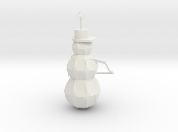 Snow Man Ornament in White Natural Versatile Plastic