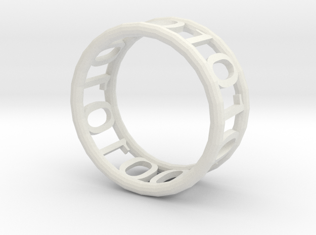 Binary ring in White Natural Versatile Plastic