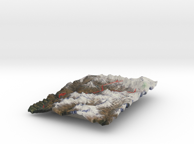 Mount Everest region, in color 3d printed