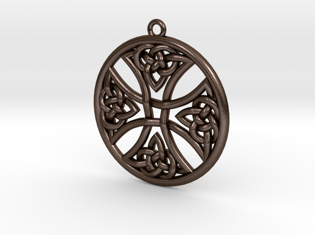 Round Celtic Cross Pendant in Polished Bronze Steel: Medium