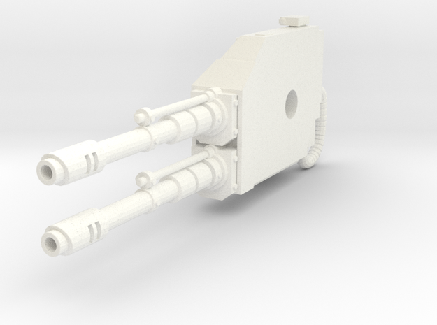 Mech Dual Gun Right Arm in White Strong & Flexible Polished