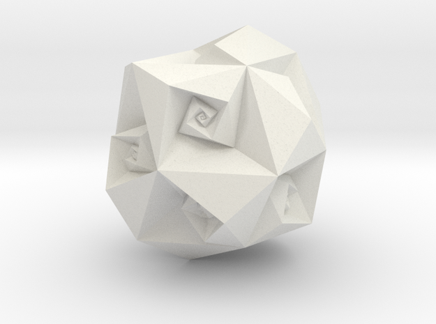 Twisted Rhombic Dodecahedron in White Natural Versatile Plastic
