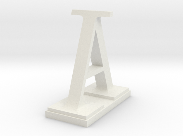 Two way letter / initial A&I in White Natural Versatile Plastic