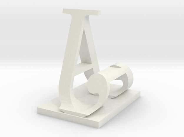 Two way letter / initial A&J in White Natural Versatile Plastic
