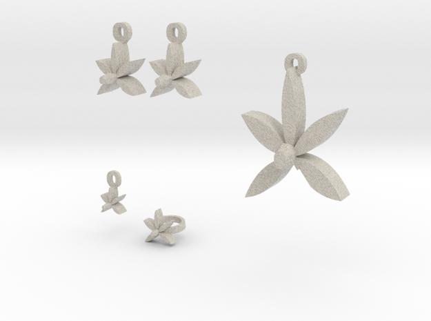 Violet Flower jewelry set 3d printed