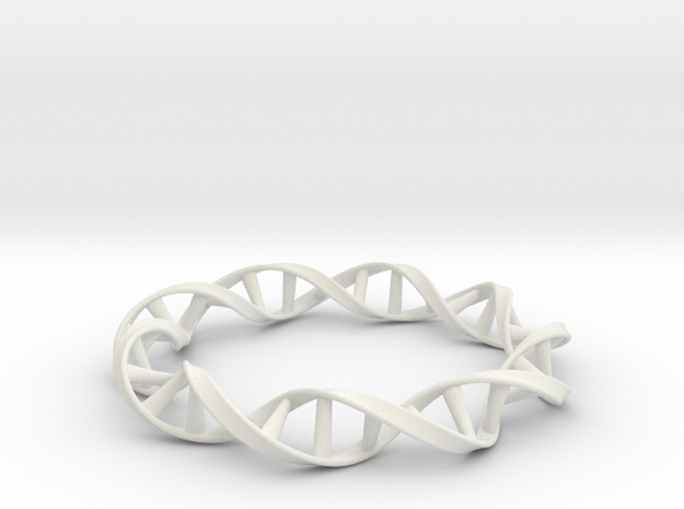 DNA Moebius Bracelet (Small) in White Natural Versatile Plastic