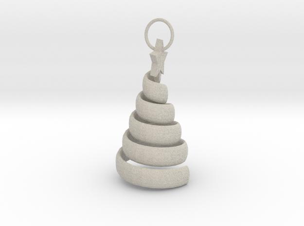 Xmas Swirl Tree Pendant/ keyring/ decoration 3d printed