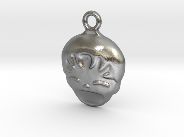 Smiling Child - head - Design for pendant/earring  in Natural Silver