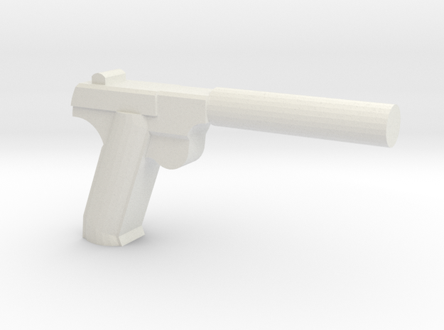 Silenced High Power HDM Pistol in White Natural Versatile Plastic