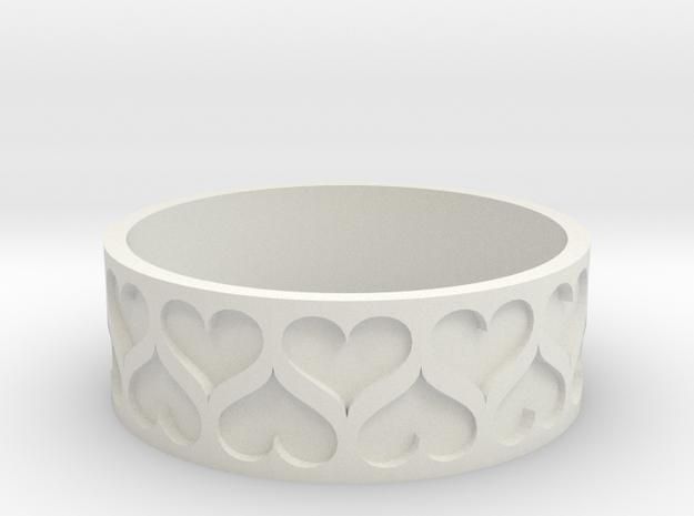 Heart bracelet (Large 80mm) in White Natural Versatile Plastic