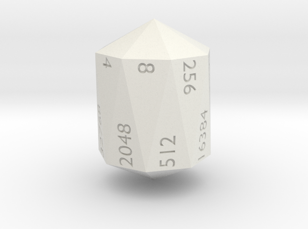 Crystal Shaped doubling d16 in White Natural Versatile Plastic