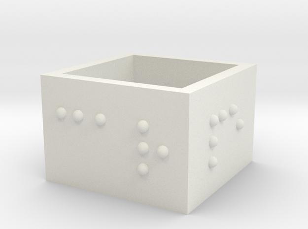 squareRing_CarpeDiem_18mmx15mm in White Natural Versatile Plastic