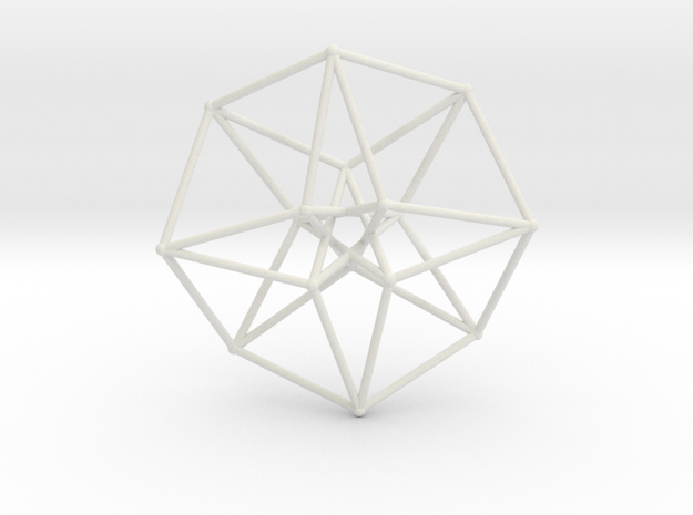 Sacred Geometry: Toroidal Hypercube 40mmx1mm in White Natural Versatile Plastic