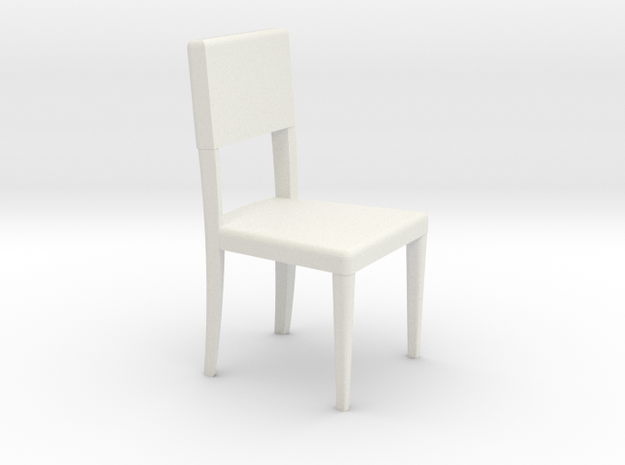 1:24 Curved Chair 3 in White Natural Versatile Plastic