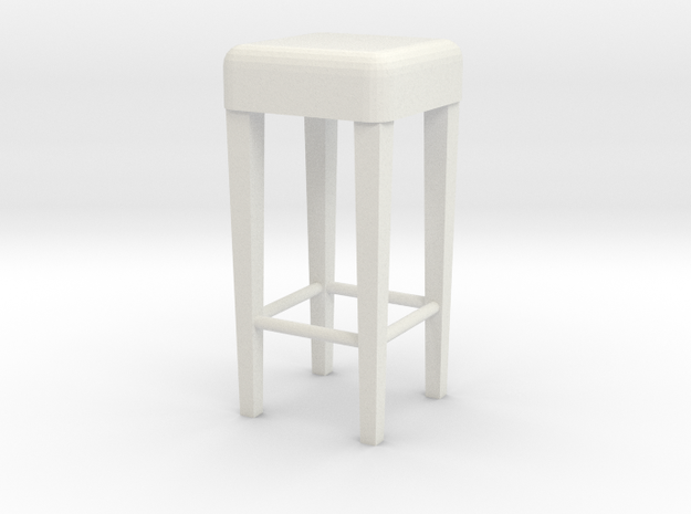 1:24 Stool 1 in White Natural Versatile Plastic