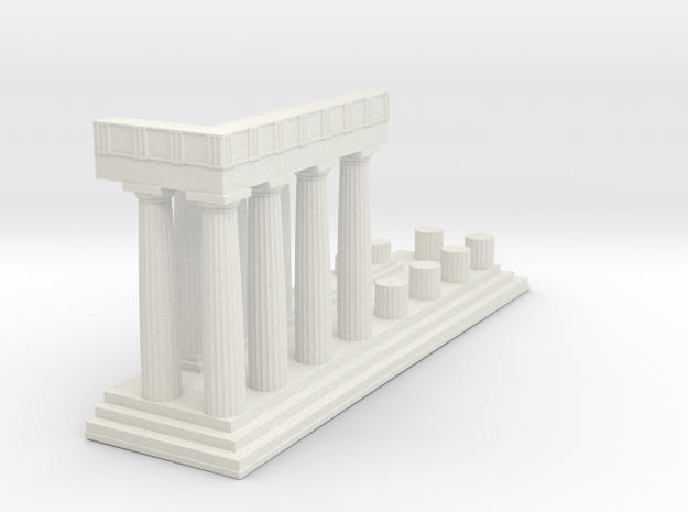 1:150 Parthenon East Facade Sectioned cut in White Natural Versatile Plastic