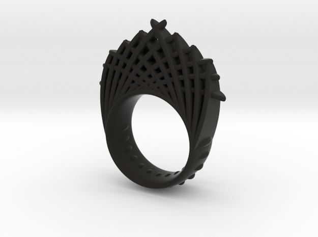 blaadjesring dubbelhoog 20 in Black Natural Versatile Plastic