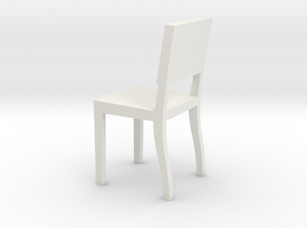 1:24 Square Chair 3 in White Natural Versatile Plastic