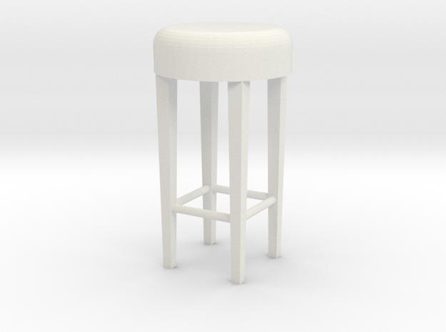 1:24 Stool 2 in White Natural Versatile Plastic