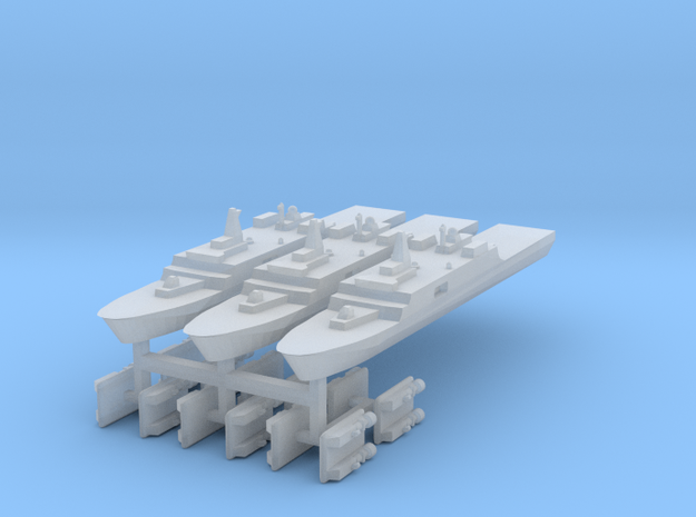 071 PLAN Amphibious Dock V2 + LCACs 1:6000 x3 in Smooth Fine Detail Plastic