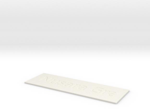 by kelecrea, engraved: Nusara Grant in White Natural Versatile Plastic
