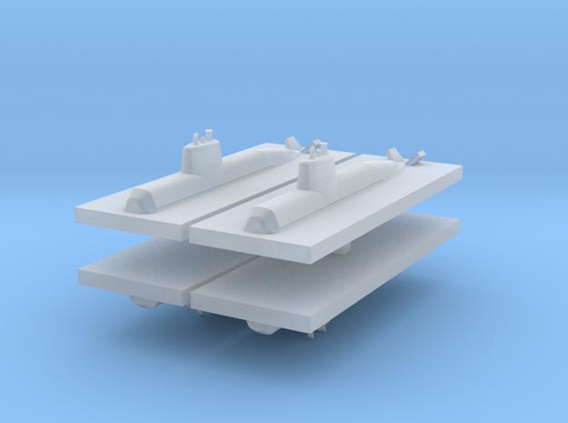 HDW 212 Submarine 1:3000 x4 in Smooth Fine Detail Plastic