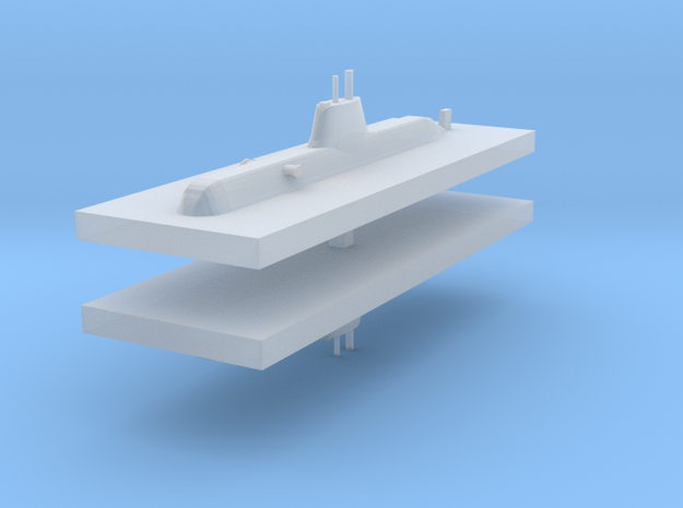 HDW 209PN Submarine 1:2400 x2 in Smooth Fine Detail Plastic