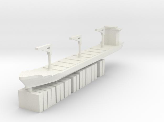 Xiamen Ship w/ Containers 1:3000 in White Natural Versatile Plastic