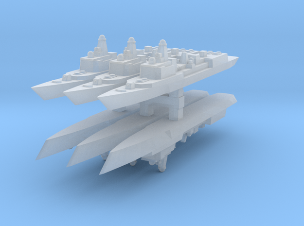 051C PLAN Destroyer 1:6000 x6 3d printed