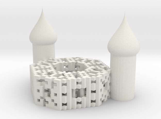 Onion Octagon Fractal Cathedral in White Strong & Flexible