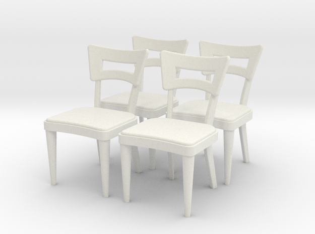 1:36 Dog Bone Chairs (Set of 4) in White Natural Versatile Plastic
