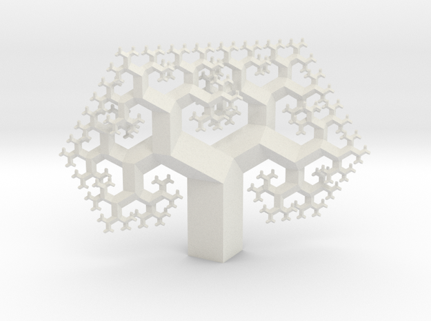Regular Fractal Tree in White Natural Versatile Plastic
