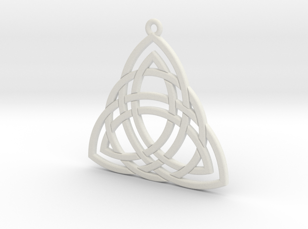 Triquetra small in White Natural Versatile Plastic