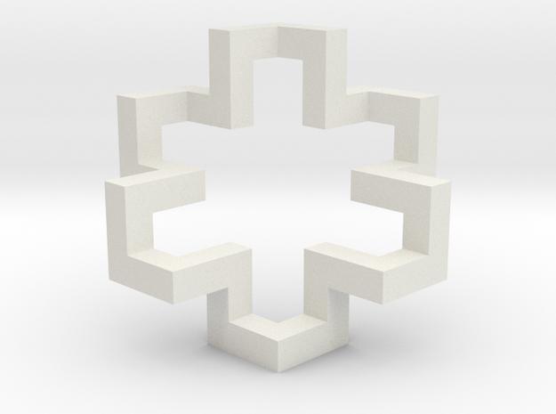 Regular Constant-torsion Polygon (++++----)^3 in White Natural Versatile Plastic